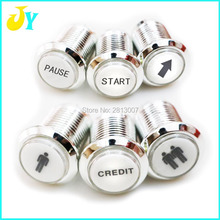 1PCS CHROME Plated illuminated arcade push button 12v LED Arcade Start Push Button with micro switch 1P 2P START CREDIT PASUE
