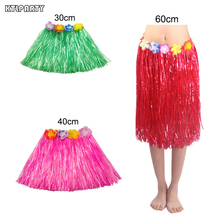 30/40/60cm Plastic Fibers girls Woman Hawaiian Hula Skirt Hula Grass costume Flower Skirt Hula dance dress Party Hawaii Beach