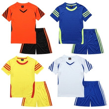 New Quick-drying Fabric Football Jersey Kids Soccer Uniform 2017 Summer Wear Short-sleeved Shirt Boy Set Children's Clothing Set(China)
