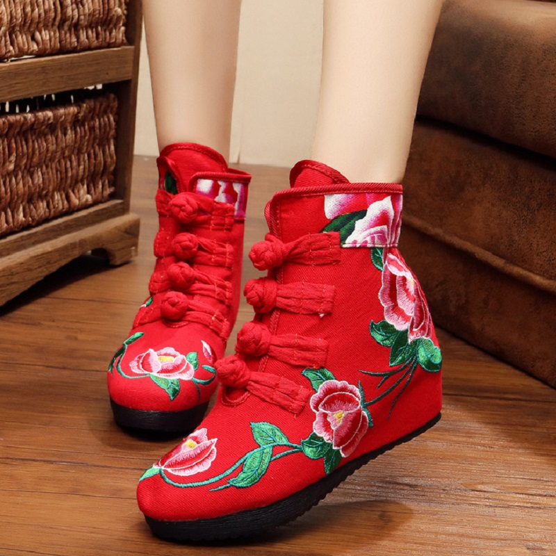 Four Buckle Boots Winter Shoes Women Autumn Winter Authentic Old Beijing Cloth Boots Retro National Wind Embroidery Single Snow <br><br>Aliexpress