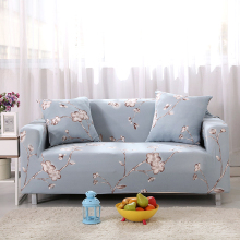 Sofa Covers Elastic Spandex Printed Gray Sofa Covers Elegant Plum Blossom Polyester Protector Pattern Sofa Covers V20(China)