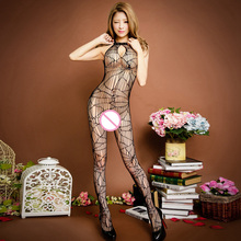 Buy Pole Dance Clothes Black Sexy Lingerie Fishnet Crotchless Open Crotch Hollow Bodystocking Sexy Bodysuit Latex Catsuit
