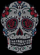 2pc/lot  Rose Day Of The Dead Candy Skull  Rhinestone Applique hot fix rhinestone patches iron on crystal transfers design shirt