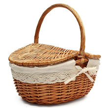 Picnic Basket Willow Wicker Shopping Hamper with Lid and Handle Handmade Rattan Storage Steamed Cassette Cover