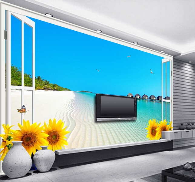 Custom 3 d stereoscopic wallpaper,  window beach sunflower paintings for the sitting room bedroom TV wall vinyl papel DE parede <br>