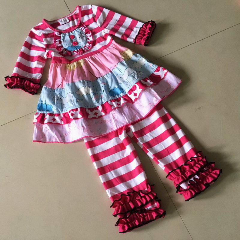 Wide stripe cloth Flower print 3/4 sleeve style 100%cotton Summer and Bib of Baby Girls Dress Apparel Accessory for present<br>