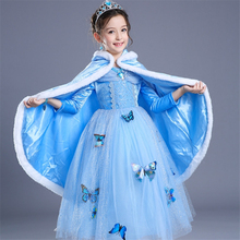 ABGMEDR Brand Newest Cinderella Dress Blue Party Dress Girls Dress Winter Monsoon Kids Children Long Sleeve Clothing Butterfly(China)