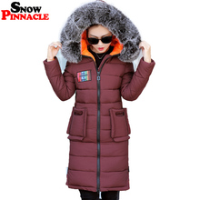 SNOW PINNACLE Winter Parkas Jacket Women Fur Hood Long Thicken Warm Lovely Snow Parkas coat Cotton Padded Snow Jacket L-3XL(China)