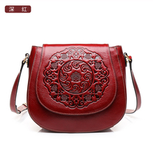 High quality Chinese style Genuine leather flower pattern fashion women handbag name brand Vintage shoulder Messenger Bag(China)