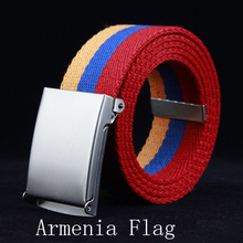 Free Shipping 2017 New Styles Men's Canvas Red Orange Blue Armenia Flag Striped Belt For Man