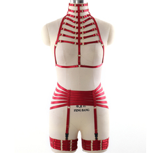 Buy BODY HARNESS Set BDSM Bondage Lingerie Wine red Elastic adjust Strap Tops Cage harness bra Sexy Goth Fetish Halloween dance Wear