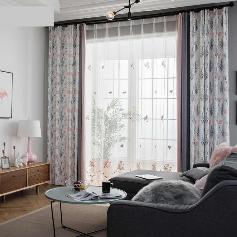 Custom curtains Nordic Cotton livingroom bedroom simple modern pink gray floral Stitching cloth blackout curtain tulle M525