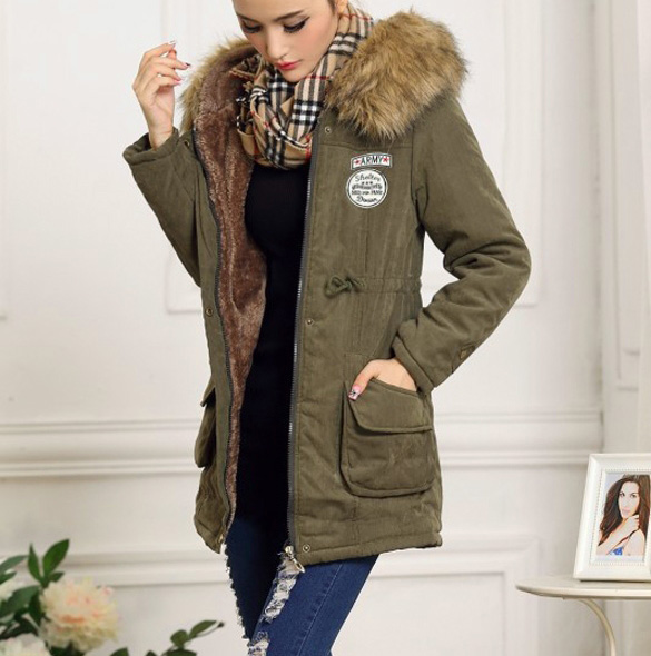 Winter Coats Women Large Faux Fur Collar Thick Cotton Padded Hooded Overcoat Lining Ladies Down &amp; Parkas Coat Одежда и ак�е��уары<br><br><br>Aliexpress