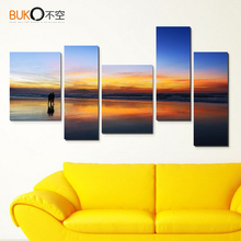 5pcs canvas painting pop art modular photos modern italian decor sunset seascape paintings wall for room decoration no frame