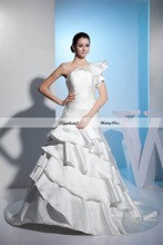 Wholesale Wedding Dress Satin A line One Shoulder Tiered Floor length Train Custom made Plus size  WD61681