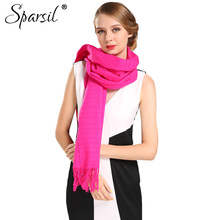 Sparsil Women Autumn Cashmere Blend Tassels Long Scarves Female Winter Soft Skin-Friendly All-Match Scarf(China)