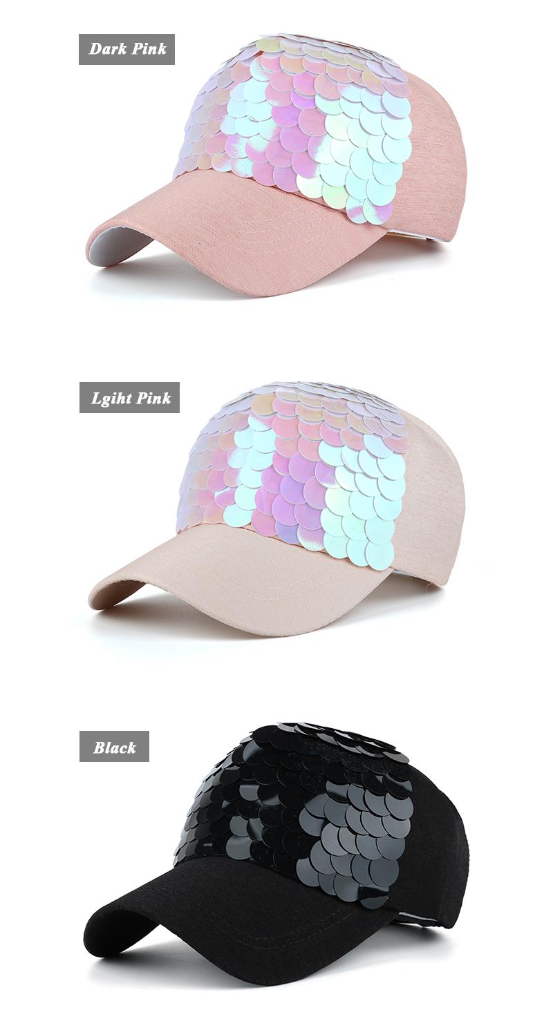 Sequin Snapback Cap - Dark Pink Cap, Light Pink Cap and Black Cap Options