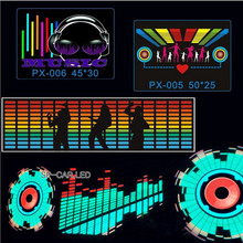 90Cm*25Cm Car Music Rhythm Lamp Car Sticker Sound Rhythm Activated El Equalizer Panel Multi Designs Led Interior Lighting
