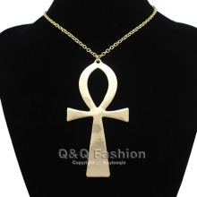 10x5cm Vintage Egyptian Life Big Ankh Cross Pendant Long Chain Sweater Necklace Jewelry(China)