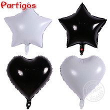 4pcs/lot 18inch black white star foil balloons pure color heart Helium Metallic globos Wedding/birthday party supplies 45*45CM(China)