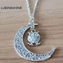 New Moon Owl Glow In The Dark Statement Pendant Necklace Vintage Steampunk Hollow Luminous Necklaces Jewelry For Women JJAL N562(China)