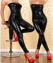 Buy Queen Top Quality Sexy Black Vinyl Catsuit Wet Look Strapless Jumpsuit Women Latex Faux Leather Flexible Jumpsuit W1132