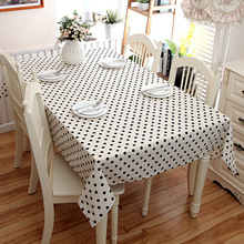 SunnyRain 1-Piece Linen Cotton Black And White Dots Table Cloth Square Tablecloth Rectangle Table Cover Table Linen
