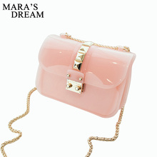 Mara's Dream 2017 Summer Candy Color Jelly Transparent Crystal Messernger Women Bag Chain Female Crossbody Rivet Shoulder Bag(China)