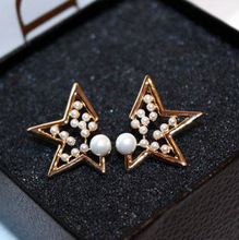 Korean cute star stud earrings simulated pearl jewelry,lady fashion trading company gold color brincos pendientes perlas aretes
