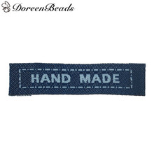 DoreenBeads Navy Color Printed HAND MADE Rectangular Cotton Label For Clothes Woven Clothing Label Washable Label Garment 100PCs(China)