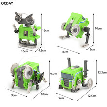 OCDAY Four In One Transformation Assembly Robot Toy Special Design Models & Building DIY Experimentation Exploiture Toy Funny