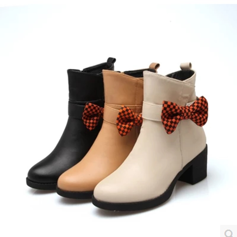 Ladys Bow Zipper Mid-Calf Boots Wedges Heel Winter Short Plush Rinding Booty Plus size 34-43 Round toe High Heel Winter Shoes<br><br>Aliexpress