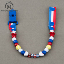 Buy MIYOCAR Personalised -Any name Hand made blue red white tennis beads dummy clip holder pacifier clips soother chain baby for $5.70 in AliExpress store