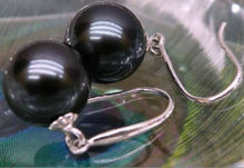 Hot sale new Style >NATURAL ROUND BLACK 10-11MM AAA SOUTH SEA SHELL PEARL EARRING