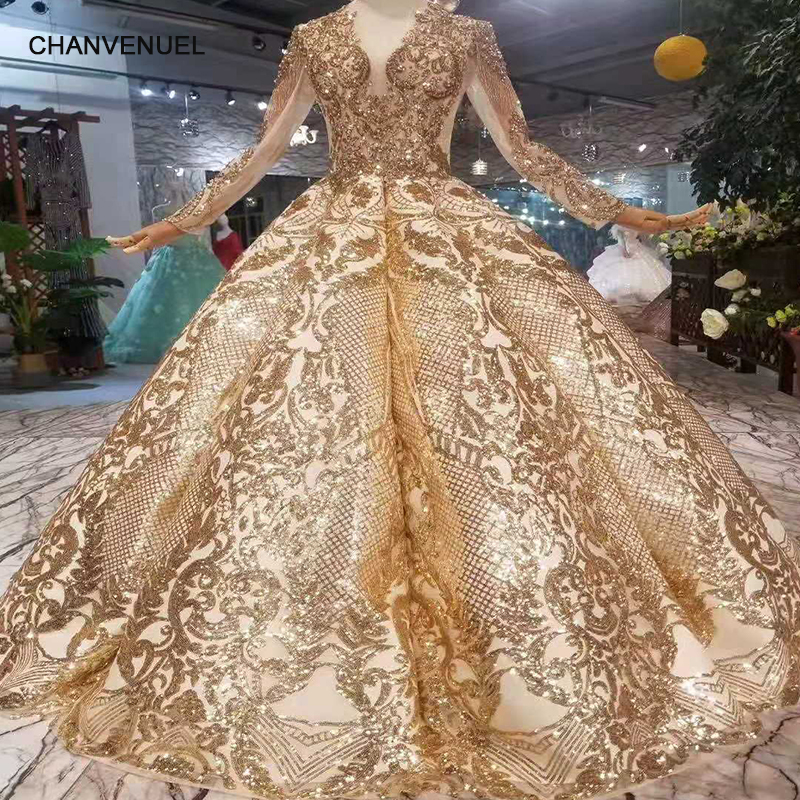 LSS260 luxury floor length queen prom dresses  curve shape ball gown sparkly golden sequined evening party dresses with glitter(China)