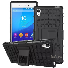 For Sony Xperia M4 Aqua Case 5.0inch Hybrid Kickstand Rugged Rubber Armor Hard PC+TPU With Stand Function Cover Cases(China)