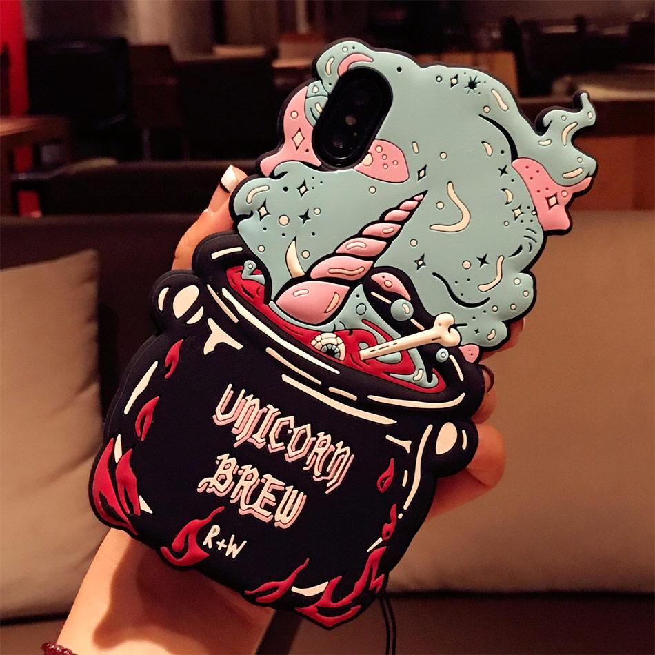 DOEES 3D Cute Love Potion Unicorn Brew Soft Silicone Phone Bag Case Cover Skin For iPhone 6 6S Plus 7 Plus 8 Plus X Fundas (12)