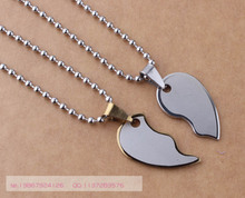 Fashion Men's Women's Stainless Steel Peach Heart  Love Heart composite  A Pair Glaze Mill Finish Couple Pendant Necklace