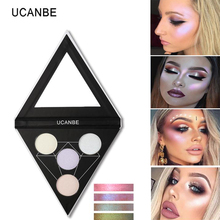 UCANBE Glow Kit Rainbow Highlighter Palette Triangle Shimmer Highlighter Powder Aurora Illuminating Face Eye Shadow maquiagem