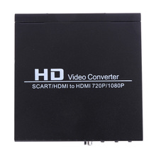 Scart/HDMI to HDMI Video Converter 720P 1080P Composite Video HD Converter Adapter Monitor Box for HDTV DVD STB US Standard Plug(China)