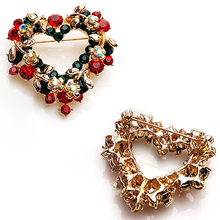 Wedding Party Christmas Lovely Gift Jewelry Rhinestone Enamel Alloy Brooch Pin