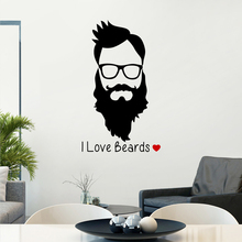 Man Beard Barber Shop Sticker Name Chop Bread Decal Haircut Posters Vinyl Wall Art Decals Decor Windows Decoration Mural(China)