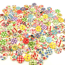 15mm Cartoon Mixed Color Christmas Wooden Buttons Children Cartoon Sewing Decorations Buttons Scrapbooking Crafts(China)