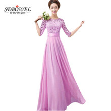 SEBOWEL Long Inside Top Quality 2016 Women Elegant Lace Dress Long Maxi Dresses Chiffon Half sleeve Evening Wedding Party Dress