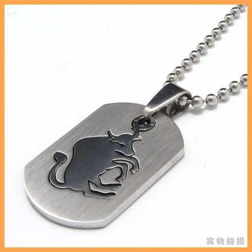 Fashion jewelry The Signs of the Zodiac Taurus Bull Pendant 316L Stainless Steel Necklaces Men Necklace 07686(China (Mainland))
