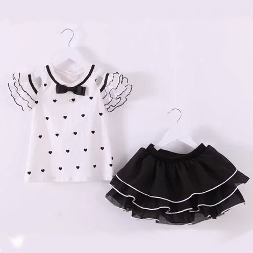 2015 summer teenager outfits chiffon Strapless petal sleeve love Wave point t shirt+tutu skirts 2pcs girls clothing sets 3~10age<br><br>Aliexpress
