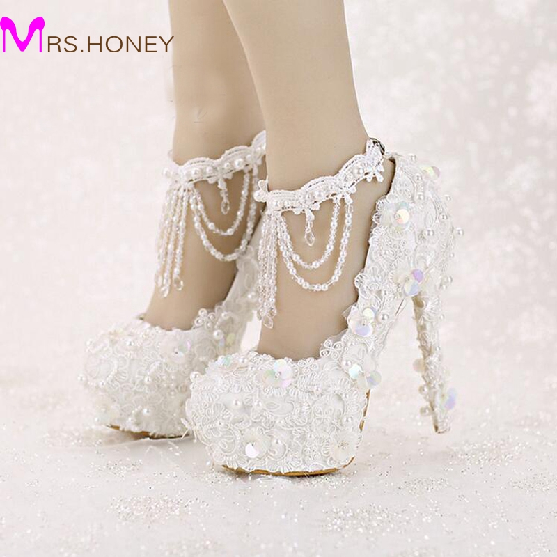 Sweet White Bride Shoes High Heel Platform Lace Strap Dress Shoes Sequined Tassels Wedding Shoes with Beautiful Ankle Straps<br><br>Aliexpress