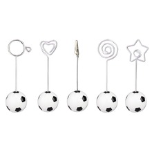 Soccer/football base wire photo clip/memo holder,stand table place card holder,sport event display deco,paper weight,wedding