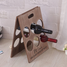 2017 New High Quality Creative Fashion Folding Pine Wooden Red Wine Holder Racks 6 Bottles Stand Display Shelf Kitchen Bar Tool
