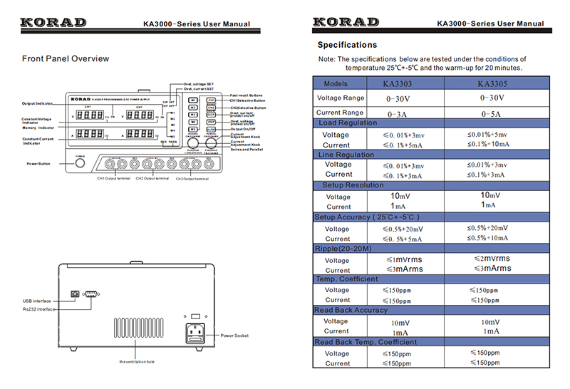 KORAD KA3305P - Programmable Precision Variable Adjustable 30V, 5A DC Triple Linear Power Supply Digital Regulated Lab Grade (5)
